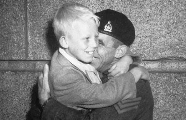 Father and son reunited. 1945: Vancouver Province Newspaper