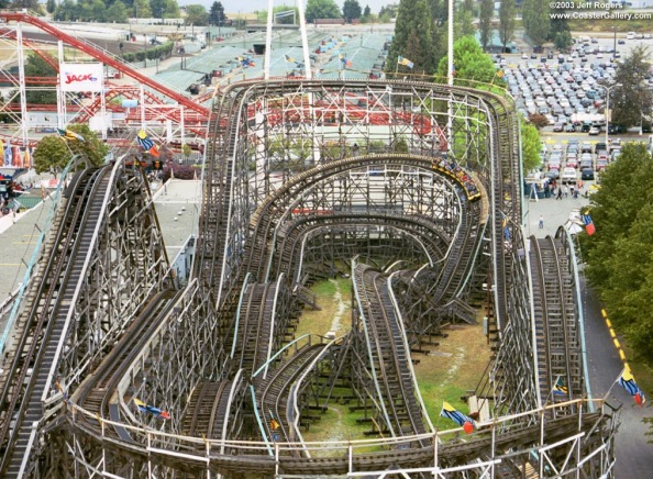 Playland's venerable wooden rollercoaster, constucted in 1958 and still going strong